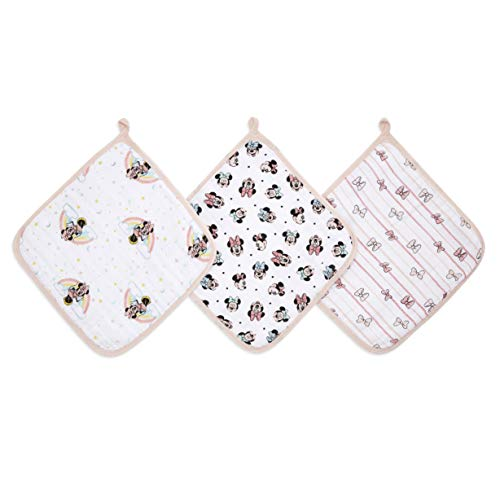 aden + anais™ Essentials - Set de 3 débarbouillettes pour la Toilette en Mousseline 100% Coton - Débarbouillette Chic - Douce - Accrochable - Fille - Imprimé Minnie Rainbows - 30 cm x 30 cm