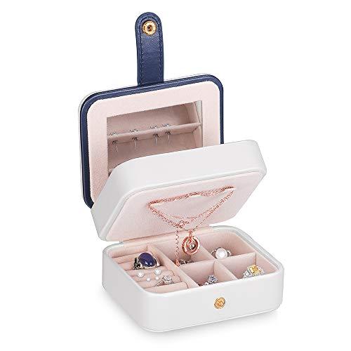 Kleine Reisen Schmuckkästchen, Mini Schmuckschatulle Schmuckbox Aufbewahrungstasche 2 Ebenen mit Spiegel, Schmuckkoffer Mädchen für Ringe Ohrringe Halskette (Weiß)