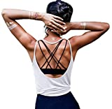 OYANUS Womens Summer Workout Tops Sexy Backless Yoga Shirts Loose Open Back Running Sports Tank Tops Cute Muscle Tank Sleeveless Gym Fitness Quick Dry Activewear Clothes for Juniors White S