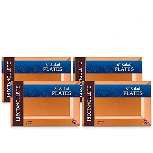 [40 Count - 8 Inch Plates] Rectangulete Designer Tableware Heavyweight Plastic Copper - Gold Color Rectangle Salad - Appetizer Plates With Border, Party & Wedding, Event Plate, Disposable Dishes