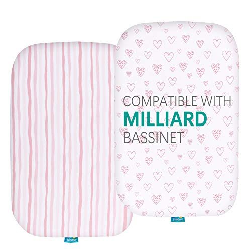Bassinet Fitted Sheets Compatible with Milliard Side Sleeper Bedside Bassinet, 2 Pack, 100% Jersey Knit Cotton Fitted Sheets, Breathable and Heavenly Soft, Pink Stripes and Hearts Print for Baby Girls