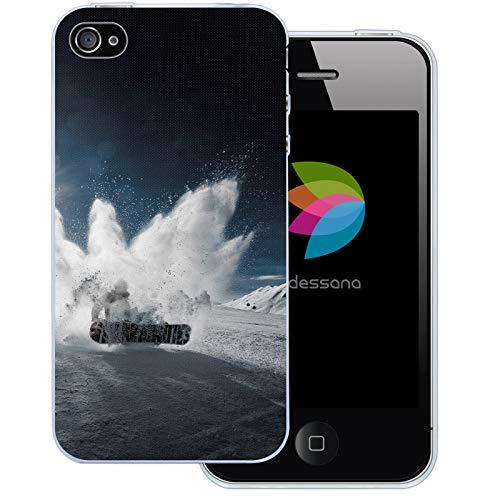 dessana Winter Sport transparente Schutzhülle Handy Case Cover Tasche für Apple iPhone 4/4S Snowboard Kunststück