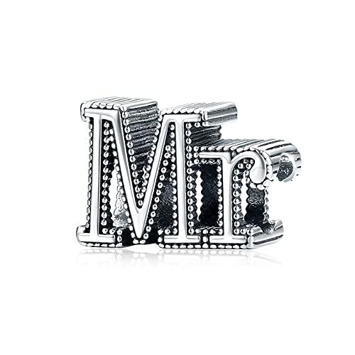 DIY S925 Plata De Ley Mr Letter Colgante Charms Beads Fit Original Pandora Beaded Pulsera Collar DIY Mujer Fabricación De Joyas