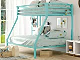 SHA CERLIN Metal Bunk Bed Twin Over Full Size with Removable Stairs, Heavy Duty Sturdy Frame with 12' Underbed Storage for Teen & Adults, Teens, No Box Spring Needed, Green