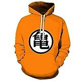 Camiseta Son Goku Sudadera con Capucha Negra Lisa 3D Suéter con Capucha para Hombre Pareja Moda Top Naranja 4XL