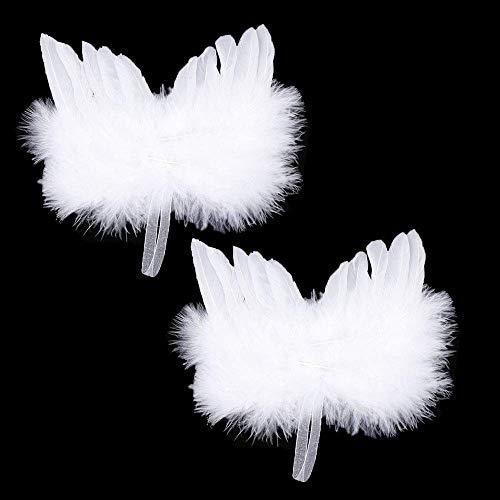 EOPER - Juego de 5 alas de ángel de plumas blancas para colgar en el árbol de Navidad, decoración para manualidades, fiestas, bodas, fotos, festivales, regalo
