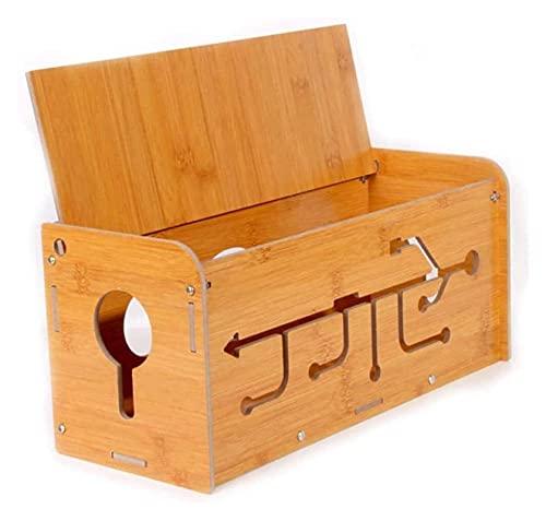 Caja de administración de cables, caja de almacenamiento de alambre creativo de madera de bambú Ocultar Tablero de alimentación Tablero de sobrecarga Potencia de protección para la oficina en casa Bea