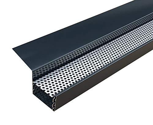 Kastendachrinne Simpel 2 Meter Aluminium anthrazit incl. Montagematerial und Laubschutz Aluminium