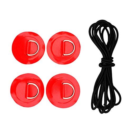 Homyl 1 Pedazo de Cordón de Choque con Parches D Anillo Kit de Bungee para Barco Neumático - Rojo