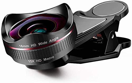 Lente de cámara del teléfono Ultra HD Lente de cámara profesional 2 en 1 Lente macro 15X Lente gran angular de 120 grados Lente de cámara de transmisión en vivo para Galaxy Teléfonos Android (Negro)
