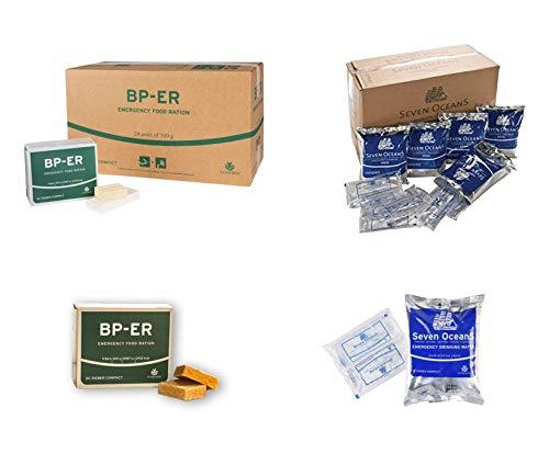 Emergency Food Set, 24 x 500 Gramm BP ER Langzeitnahrung und 30 x 500ml Spezial Trinkwasser Konserven Seven Oceans (Charge 2020 und Zertifikat vom Händler Lebenskraft)
