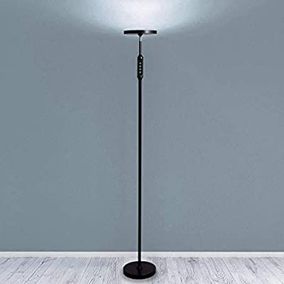 Daylight LED Floor Standing Lamp - Tall Modern Reading Task Uplight - 24W Adjustable Warm Cool Super Bright Natural Light Torchiere for Living Room, Dorm, Bedroom or Office - Dimmable