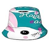 Bucket Hats Unisex,Graphics Holiday Card Easter Bunny Egg,for Sun CapsSafari for CampingBucket Gardening Boating FishingHat