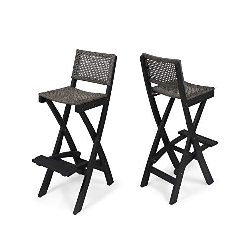 Great Deal Furniture Constance Outdoor Folding Acacia Wood Barstools (Set of 2), Dark Gray and Brown