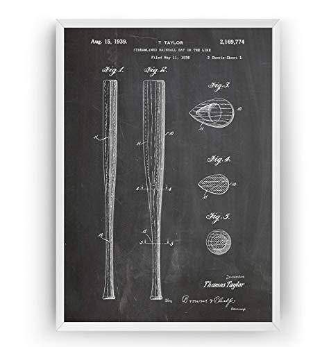 Baseballschläger 1939 Patent Poster - Baseball Bat Jahrgang Drucke Drucken Bild Kunst Geschenke Zum Männer Frau Entwurf Dekor Vintage Art Blueprint - Rahmen Nicht Enthalten