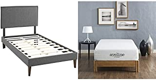 Modway Camille Twin Fabric Platform Bed with Squared Tapered Legs in Gray with Modway Aveline 10