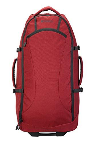 Mountain Warehouse Voyager Wheelie 50-l-Rucksack - Mehrere Taschen, strapazierfähiger Rucksack, Schulterriemen, Tagesrucksack mit Rädern - Für Reisen, Camping, Festivals, Frühling Rot Einheitsgröße