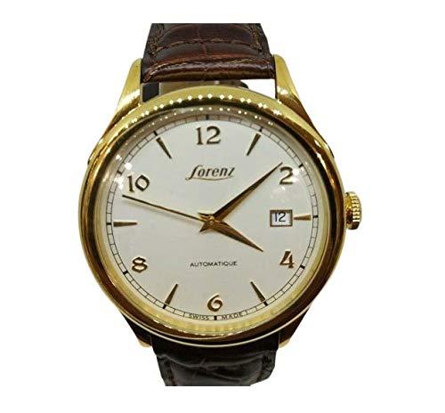 Reloj automático para hombre Lorenz 026733AA Swiss Made caja de acero chapado en oro fecha correa piel