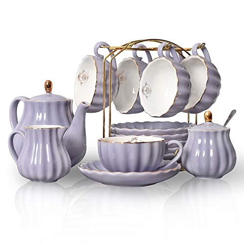 YINGY Britisches Porzellan-Tee-Set, 23 Stück Kaffee Server mit Halter Teekanne Zuckerdose Milchkännchen Teelöffel Teesieb for Tee-Kaffee Kaffeetasse Porzellan-Tee-Set, Latte Cup (Color : Purple)