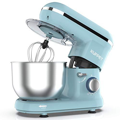 KUPPET Robot Pâtissier 1300W,Robot Pâtissier avec Bol d'Acier Inox 4,5L, à 10 vitesses Robot Pétrinavec Fouet à Fils,Batteur, Crochet,(Bleu)