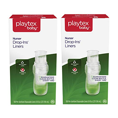 Playtex Baby Nurser Pre-Sterilized Disposable Bottle Liners, Closer to Breastfeeding, 8-10 oz, 200 Count