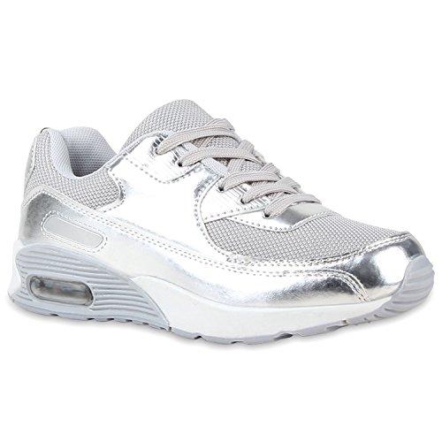 stiefelparadies Trendige Unisex Lauf Damen Herren Kinder Sport Glitzer Camouflage Sneaker Bunt Schnür Sport Schuhe 116612 Silber Weiss 32 Flandell