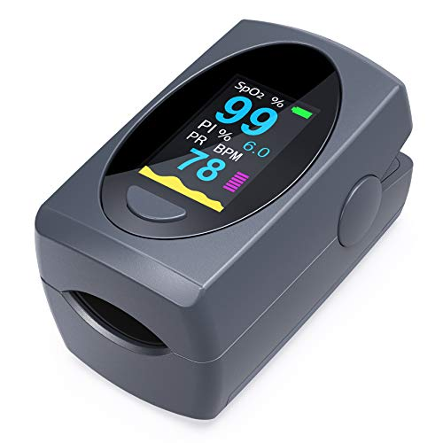 Pulse Oximeter Fingertip,Digital Blood Oxygen Saturation Monitor for Heart Pulse Rate and SpO2 Levels, Portable Oximeter Finger with Pulse (Batteries & Lanyard Included)