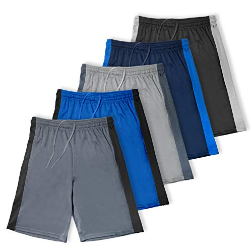 [5 Pack] Men's Dry-Fit Active Athletic Performance Shorts - Basketball Running Gym Workout Fitness Sports (Small, Set 1)