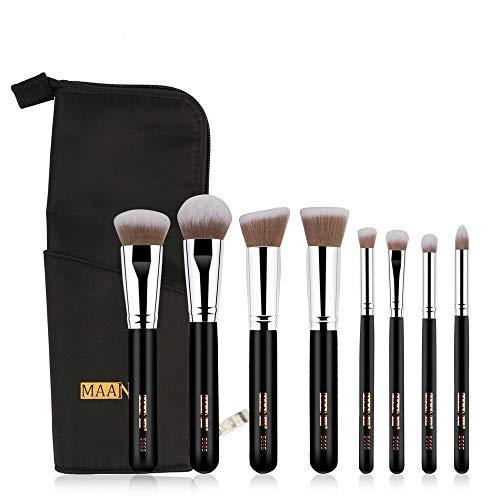 Set pinceaux maquillage Maquillage professionnel 8PCS brosse de Fondation Ombre à paupières Sourcils fard à joues Maquillage Pinceaux Sac Pinceaux maquillages pas cher (Color : Black Silver)