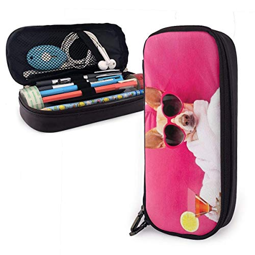 XCNGG Dog Relaxing Leather Pencil Case Big Capacity Pencil Pouch Large Pencil Holders Makeup Bag Double Zippers for Teen Boys Girls School Students Pens