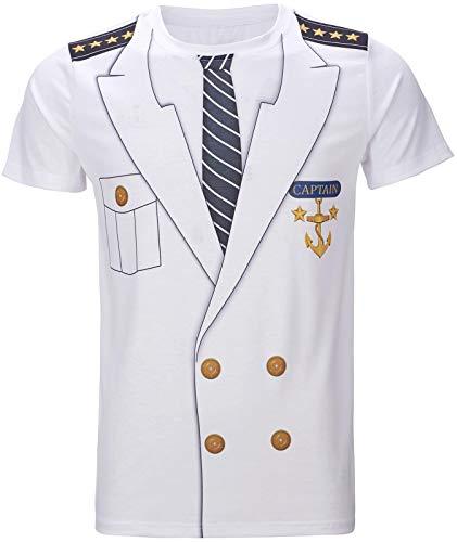 COSAVOROCK Herren Kapitän Kostüm T-Shirts (L, Weiß)