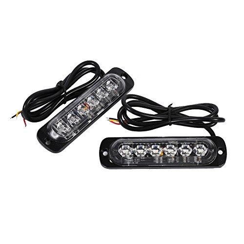 VGEBY 2pcs 12/24V 6 LED Feu Stroboscopique Lampe Feux Clignotant Pour Voitures (Couleur : Amber)…