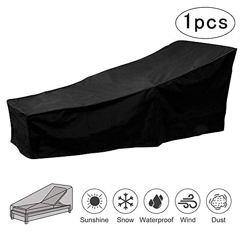 Sun Lounger Cover Waterproof Outdoor Sunbed Cover Dustproof Windproof Anti UV Garden Patio Furniture Protector Cover 208 * 76 * 41/79cm