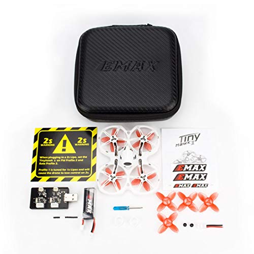 EMAX Tinyhawk S II Indoor FPV Racing Drone with F4 Flight Control 16000KV Motor Nano2 700TVL Camera LED 1/2S BNF 25/100/200mW VTX FrSky FPV Quadcopt