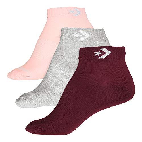 Converse Damen Socken Star Chevron 3-er Pack Füßlinge Lurex grau rosa bordeaux, Größe:39-42 EU
