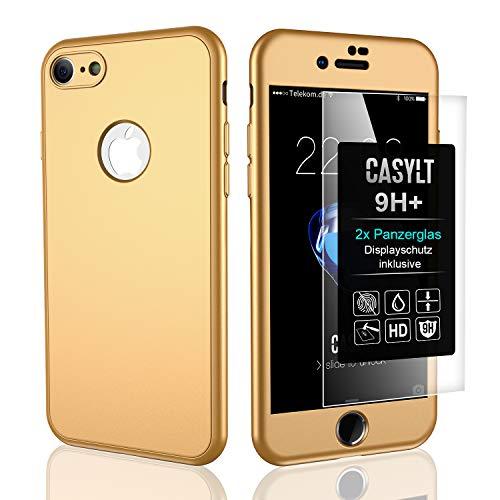 CASYLT [kompatibel für iPhone 6 & 6s] 360 Grad Fullbody Soft-Case Hülle [inkl. 2X Panzerglas] Komplettschutz TPU Handyhülle in Gold