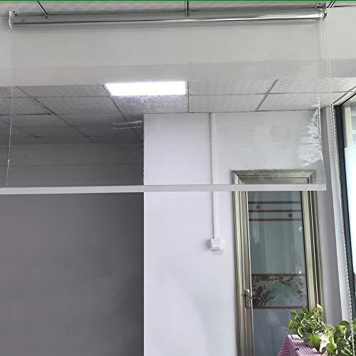 HWF Persiana Enrollable Persiana Enrollable Transparente de PVC - Tratamientos de Persianas Transparentes de Plástico para Interior Al Aire Libre, Fácil de Instalar, 100cm / 120cm / 130cm de Ancho