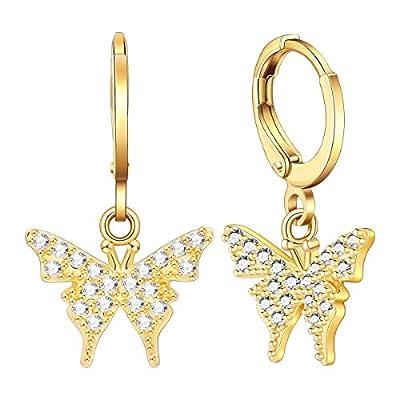 Ldurian Butterfly Charm Earrings, CZ Mariposa Hoop Huggies, Small Dangle Hoops, Dainty Ear Hugger, Animal Jewelry For Women, (14K Gold Plated)