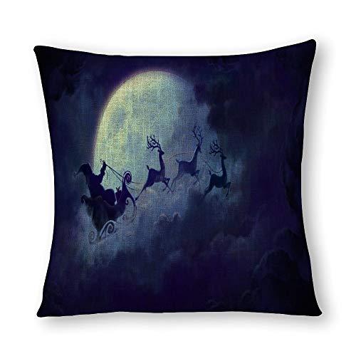 Santa Riding Deer Plum Flying Across The Moon - Funda de almohada