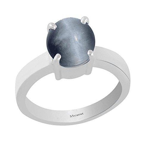 4,5 CT hecha a mano de 925 Sterling astilla de ojo de gato de piedra Natural con anillo para las mujeres
