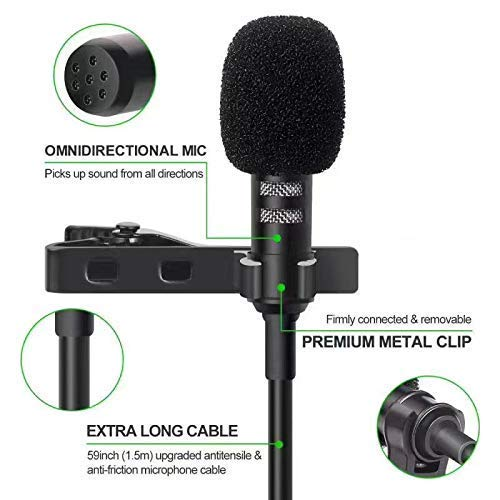 Primeshop® B04 Lapel Mike Mini Singing and Recording 3.5mm Mic Microphone with Long Cable for Voice Chat, Video Conferencing, Singing & Recording YouTube on Smartphones (Black) Warranty and Recording mic