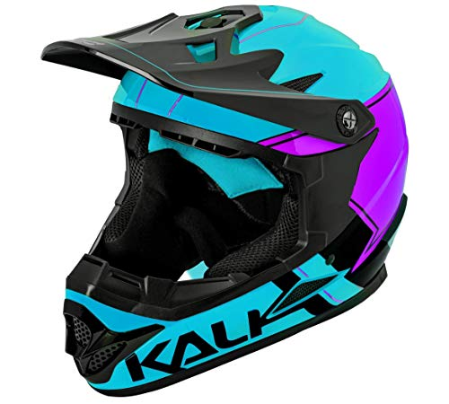 Kali Zoka Switchback Gloss Blue Purple Black Full Face Bicycle BXM MTB Downhill Mountain Bike Helmet (S)