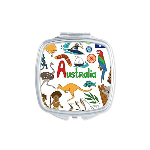 Doe-het-zelf Australië Zolandschap landschap dieren vlag nationale lifestyle illustratie vierkante make-up compacte zakspiegel schattig kleine spiegel hand