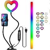 JSBVM Luz de Relleno en Forma de Corazón, LED Anillo de luz Selfie con Clip de Teléfono, Puerto de Salida USB, Atenuación de Control por Cable para Teleconferencias, Teletrabajo, Cursos Online