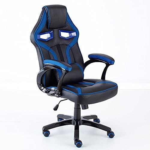Neo, Executive, sedia da ufficio con supporto lombare e schienale sportivo in stile auto da corsa, per Gaming, in pelle PU Blue & Black
