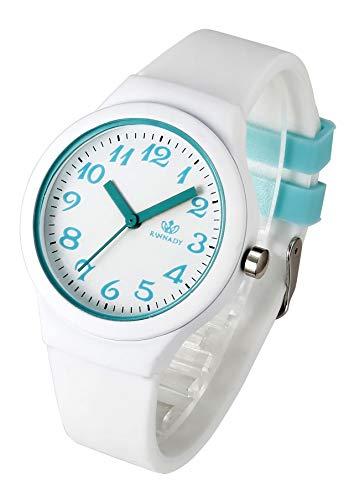 JSDDE Uhren Armanduhr Candy Farbe Silikonband Sportuhr arabische Ziffern Zifferblatt Damenuhr Analog Quarzuhr Watchs für Frauen Mädchen Jungen (Weiß)