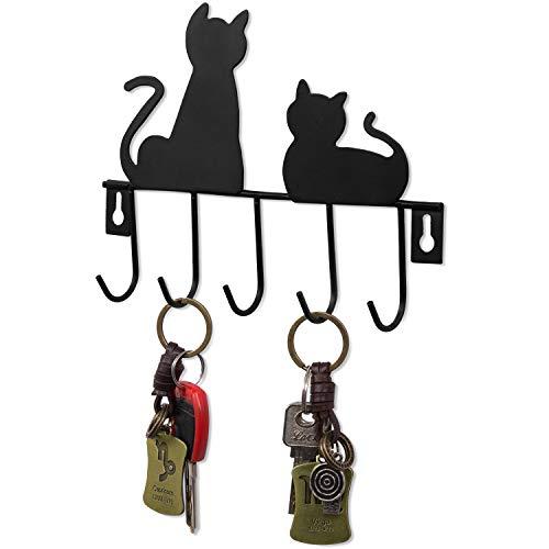 MyGift Black Metal Wall-Mounted Cat Design 5-Key Hook Rack