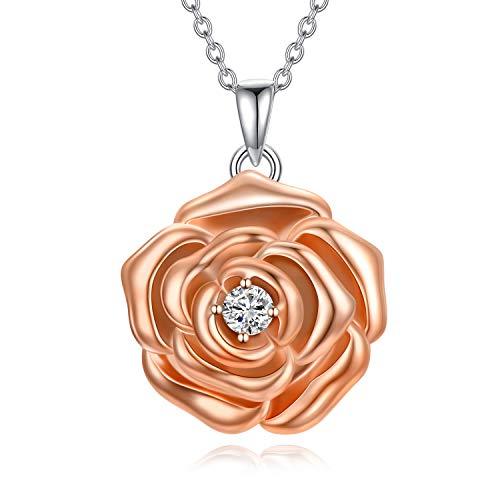 LONAGO 925 Sterling Silber Personalisierte Medaillon Halskette die Bilder Rose Blume Medaillon Anhänger Halskette Schmuck für Frauen Hält