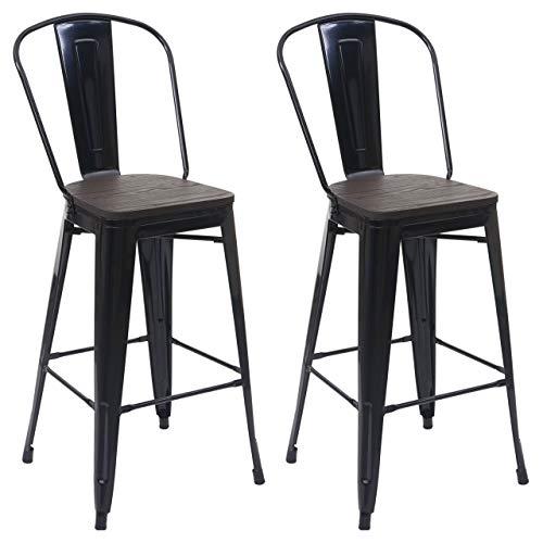 Mendler 2X Barhocker HWC-A73 inkl. Holz-Sitzfläche, Barstuhl Tresenhocker mit Lehne, Metall Industriedesign ~ schwarz
