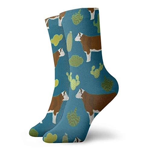 Hereford - Toallas de tela de vaca y cactus, calcetines divertidos para hombres y mujeres, calcetines de tobillo casuales
